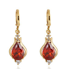 Aulic Red Ruby Stone 18K Yellow Gold Plated Teardrop New Hoop Earrings for Women