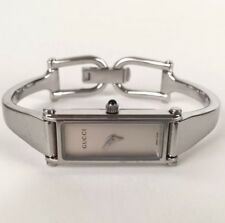 GUCCI 1500L Silver Bangle Horse-bit Style Swiss Lady's WATCH Silver Dial
