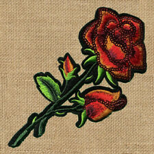 1pc Flower Rose red Sequin Embroidered Patch Cloth Iron On Applique sewing #1564