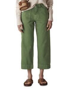 Whistles Khaki Cargo Pocket Cropped Trousers Size 10