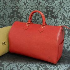 Rise-on LOUIS VUITTON EPI SPEEDY 35 RED Handbag Purse #20 t