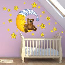 R00038 Wall Stickers Adesivi Murali Bambini Lettino sotto le stelle 120x30cm