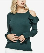 GUESS Sweater Women's Slim Fit Shoulder Cut-Out Ruffle Sweater Top XL Green NWT