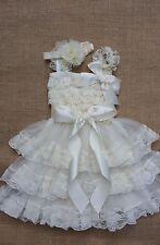 Extra full Flower Girl Dress Rustic dress,Country dress,Baby Girls Dress,Ivory..