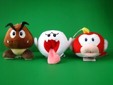 Set of 3  Super Mario Bros Goomba Boo Ghost Cheep Puku Plush Doll Soft Toy Gift