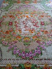 Vintage Italian Cherub/Roses Velvet Bed Coverlet Bedspread/ Gypsy/Bohemian Chic