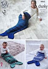 KNITTING PATTERN Ladies Baby Easy Mermaid Fishtail Snuggle Blanket Chunky 4865
