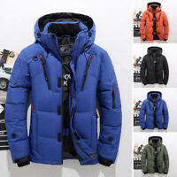 Mens Winter Duck Down Jacket Hooded Puffer Coat Warm Ski Jacket Snow Thick Parka