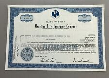 Meridian Life Insurance Company 100 Shares Stock Certificate 1971