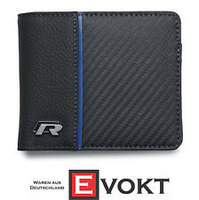 "VW Volkswagen Collection 2016 Men Black Leather Wallet ""R"" 15D087400 Genuine New"