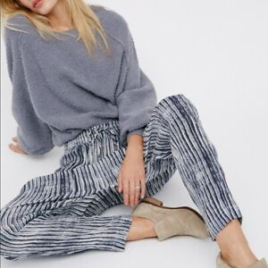 Free People Women's Dream On Gauze Harem Pant in Blue Size SMALL