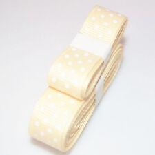 "3yds 5/8""(15 mm) Cream Christmas Ribbon Printed lovely Dots Grosgrain"