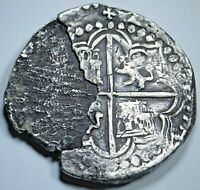 1574-86 Spanish Bolivia Silver 8 Reales 1500s Philip II Colonial Dollar Cob Coin