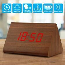 Modern Alarm Clock - Brown Light Wood Triangle LED Wooden Digital Temp US Seller