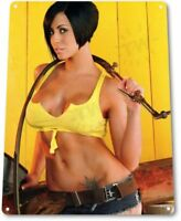 Yellow Pinup Girl Sexy Cowgirl Farm Tractor Man Cave Wall Decor Large Metal Sign