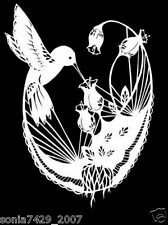 Hummingbird and Flowers With Lace Cute Car Vinyl Decal Sticker