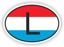 OVAL FLAG WITH L LUXEMBOURG COUNTRY CODE STICKER CAR MOTOCYCLE AUTO TRUCK