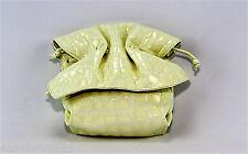 CARLOS FALCHI CROCO WHITE 100% LEATHER BOW SHOULDER BAG SIDE POUCH NEW $325.00