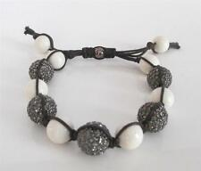 New TAI White Bone Bead Pave Crystal Disco Ball Knotted Cord Adjustable Bracelet