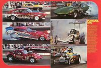 1975 Great 2 Page Pic of Funny Cars Top Fuel Dragster & Pro Stock Gassers