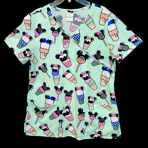 Disney Womens Scrub Shirt Sm Mickey Mouse Mint Green Ice Cream Cones Popsicles
