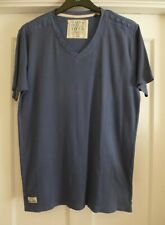 Mens Size Large Blue Ribbed 100% Cotton V-Neck T-Shirt from Matalan