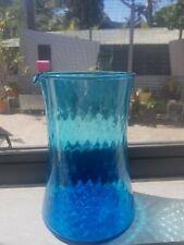Art Glass aqua teal jug Vase Scandinavian Design  Mid-Century  Retro  Vintage