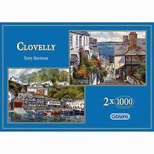 GIBSONS CLOVELLY 2 x 1000 PIECE DEVON VILLAGE TERRY HARRISON JIGSAW PUZZLE