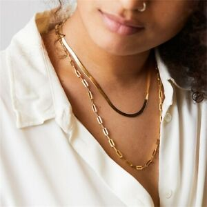 Silver gold multi Chains Clavicle Necklace Titanium Steel Nonfading Snake Bone