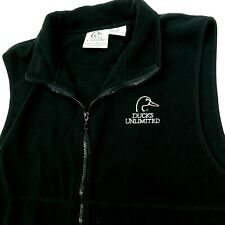 DUCKS UNLIMITED Vest Full Zip Black Fleece Pockets Hunting Embroidered Logo  XL