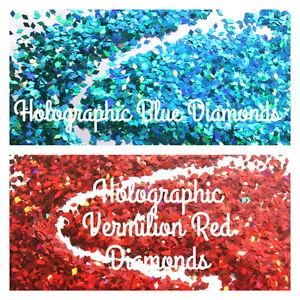 Nail Art Glitter Holographic Blue Lagoon Red Vermilion Diamond Shape Chunky