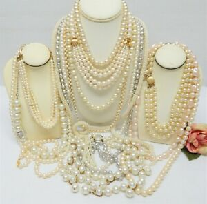 MOSTLY VINTAGE FAUX PEARL NECKLACE LOT