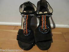 NEW $1195 JIMMY CHOO BROWN SUEDE T-STRAP BEAD & SHELL MOROCCAN SANDAL 41.5 11