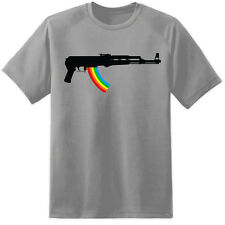 Mens AK47 Rainbow Rifle T Shirt Prodigy Festival Gig Tickets Funny Stag Top Gun