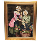 Thanksgiving Pilgrims Attractive Young Maiden Ladies Smelling Flowers Tapestry