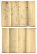 Al Capp Pencil Sketches of Poss 3 Self Portraits of Him