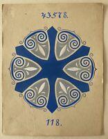 Jugendstil Entwurf Skizze Studie 118 Art-Nouveau Dekoration Blau Fliese?