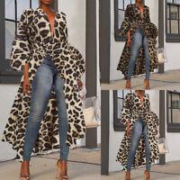 Mode Femme Manches septième Personnalité léopard Col V Profond Haut Tops Plus