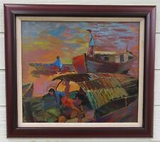 FRANK GERMAIN PAINTING EXPRESSIONIST CALIFORNIA MODERNISM PORT MARINA FISHING