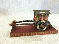 Antique Japanese Hinamatsuri Miniature Wooden Carriage Model Hand Painted Made