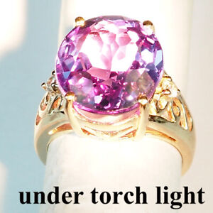 CHANGE BLUE PURPLE SPINEL 12.30 CT. 925 STERLING SILVER ROSE GOLD RING SZ 5.75