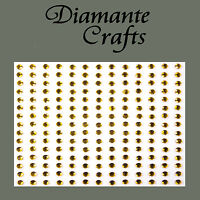 195 x 3mm Gold Diamante Self Adhesive Rhinestone Body Vajazzle Gems