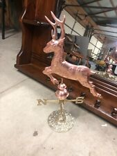 Jumping Buck Polished Copper and Brass Decorative Deer Weathervane Used
