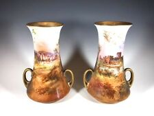 "Pair of Royal Doulton Vase hand painted and signed by J. Hughes 8"" High (#726)"