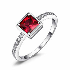 0.9ct Pigeon Blood Ruby Square Sterling Silver Ring Size 7 unique Special Hot