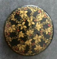 KLEINE LACKDOSE HOLZ ANTIK HANDBEMALT GOLDDEKOR Durchmesser ca. 6 cm