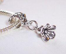 Flower Bud Spring Garden Lily Dangle Charm for Silver European Bead Bracelets