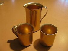 Vintage Set Of 3 Aluminum Collectible Pitchers, Cup - Color Craft