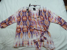 CITY CHIC L 20 NWT RRP $79 US TOP SIDE TIE PRINT SUNSET