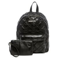 Steve Madden Nyla Triple Stitch Sateen Backpack Black with removable Pouch New